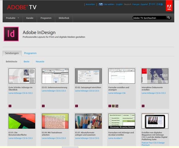 Adobe hat einen eigenen Kanal mit Tutorial Videos zu InDesign.