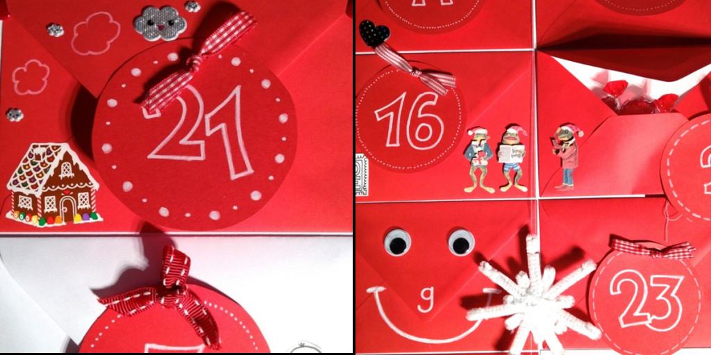 rote Briefumschläge für den Adventskalender
