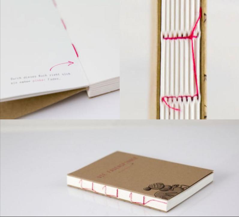 Bei unserem Design-Notizbuch wird der Buchbinderfaden in der Farbe Ihrer Wahl zum Designelement.