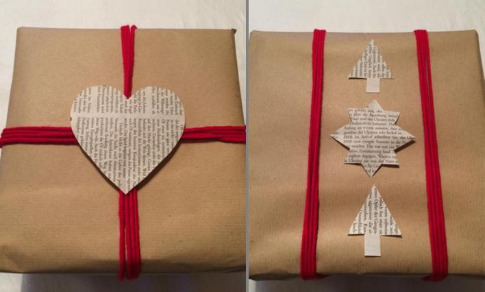 Geschenkverpackung aus Packpapier und Zeitung
