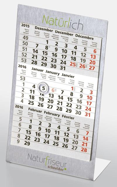 Der Tischkalender aus Edelstahl ist nicht nur robust, sondern auch praktisch.