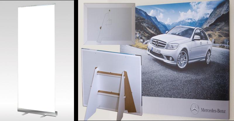 Leinwand- oder Rollup-Displays sind ideale Werbeträger auf Messen.