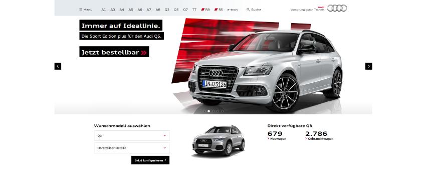 Bei Audi wird das Rot des Logos nur für Highlights aufgegriffen. Auch die Schriftart des Logos wird nur bei Überschriften benutzt.