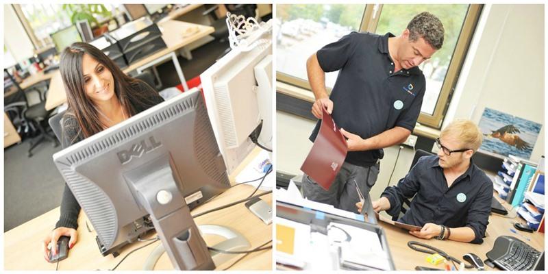 Büro-Mitarbeiter von Online-Druck