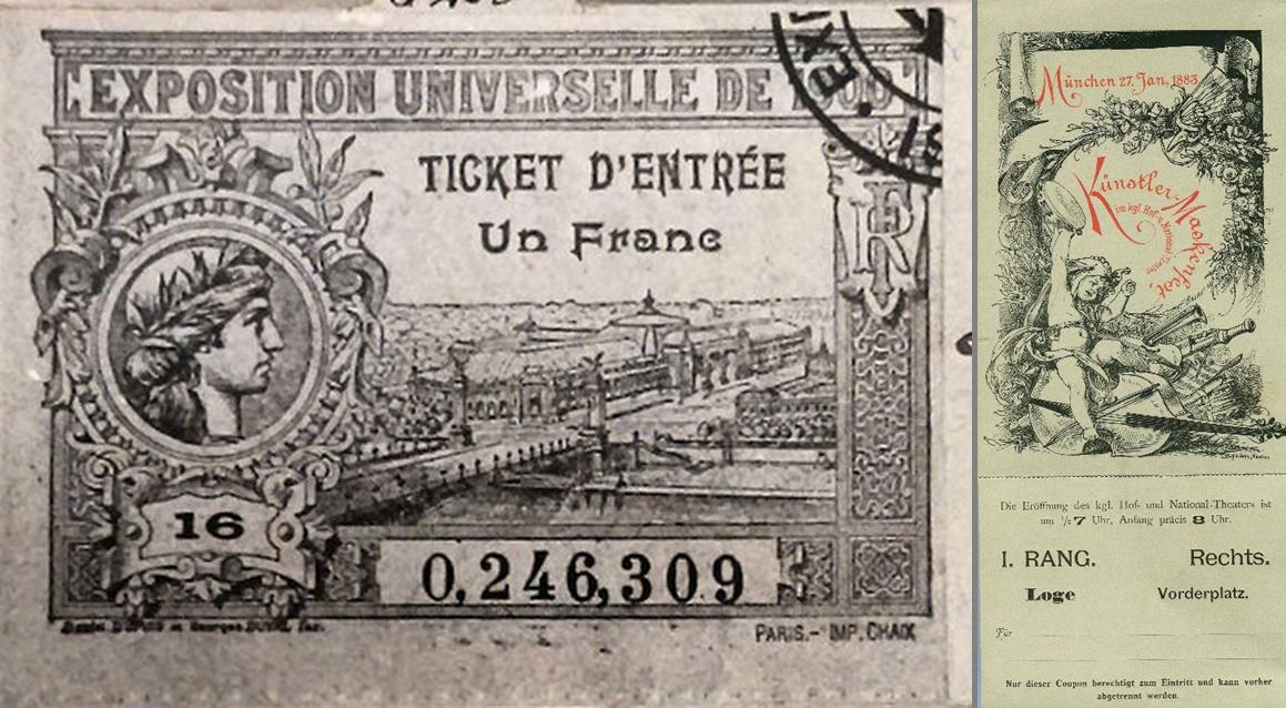alte Eintrittskarten aus dem 19. Jahrhundert