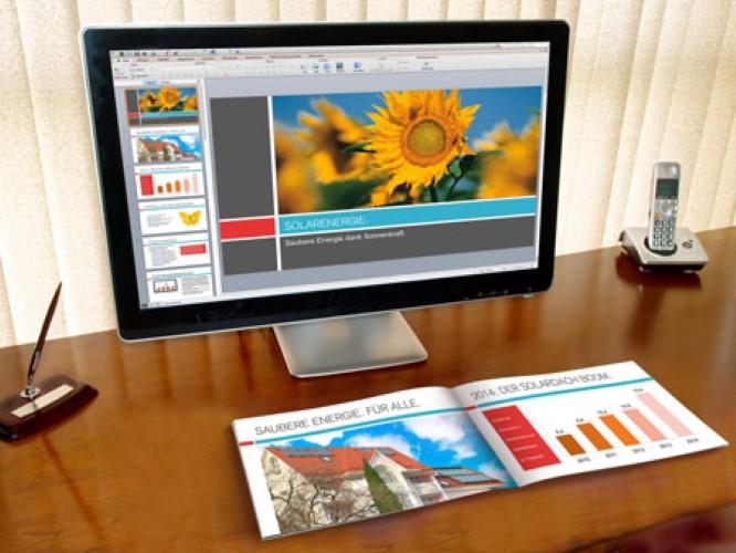 Eine Broschüre ist auch als Ergänzung zu einer Präsentation hilfreich. Darum bieten wir Broschüren im passenden Format zur PowerPoint Präsentation an.