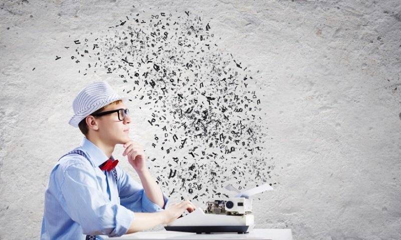 Autor mit Schreibmaschine