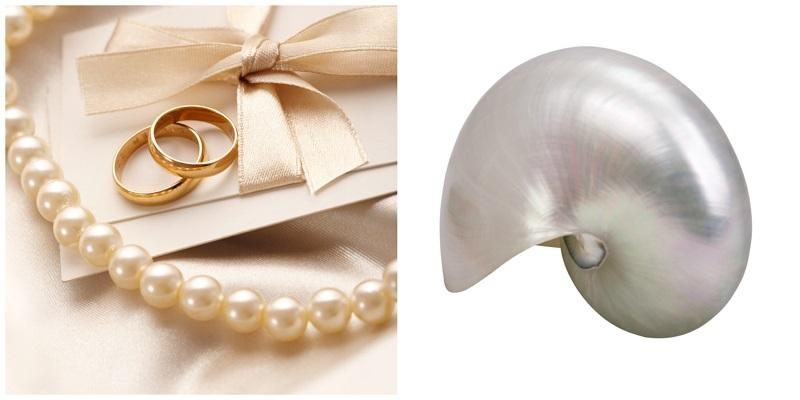 Perlen für die Braut – und perlmuttfarbene Einladungskarten und Umschläge. Für die Hochzeit darf es schon etwas Besonderes sein!