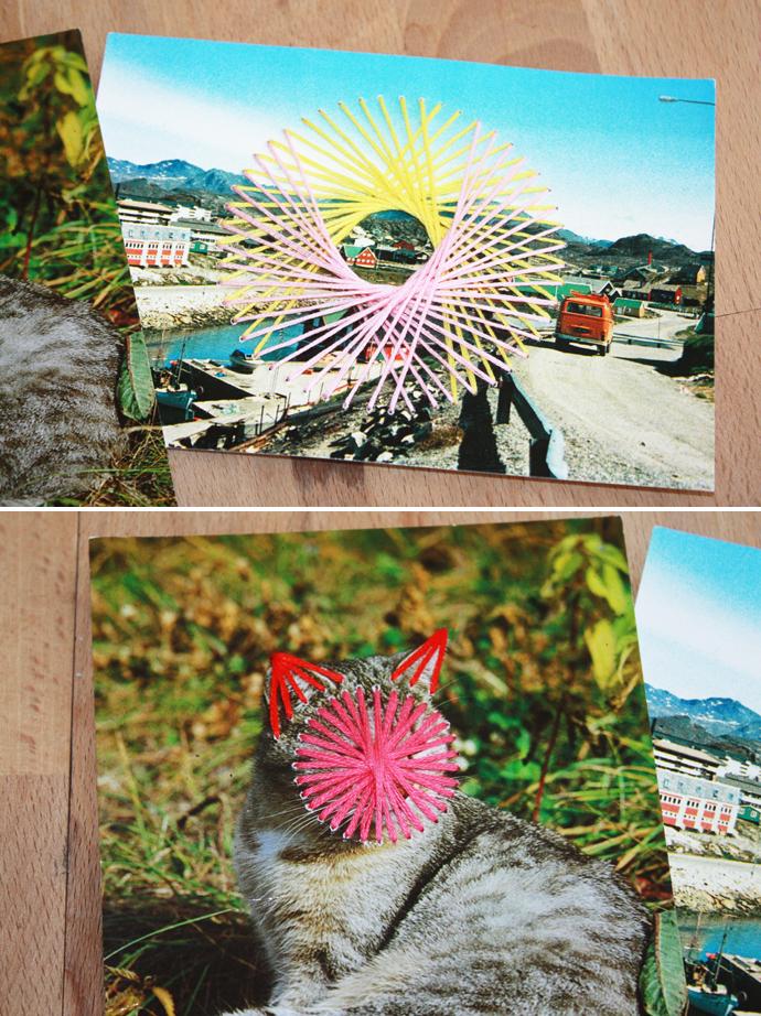 Alte Postkarten mit Nadel und Faden bestickt