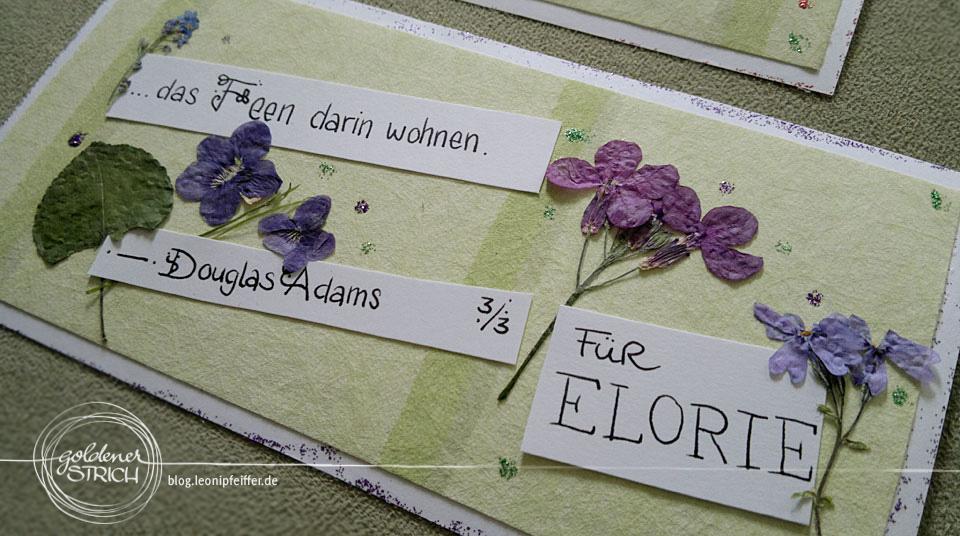 Postkarten DIY mit gepressten Blumen und Zitaten