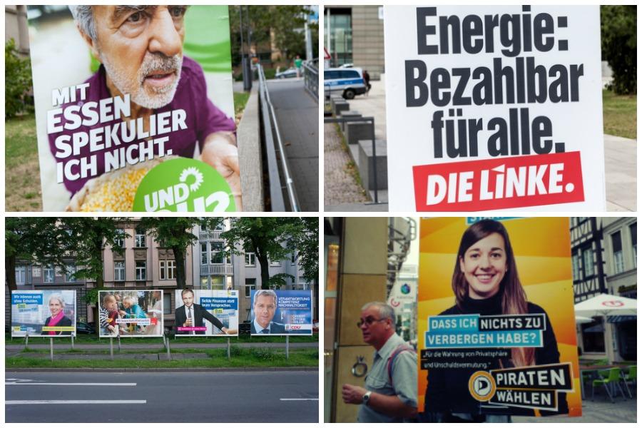 vier Wahlplakate Deutschland