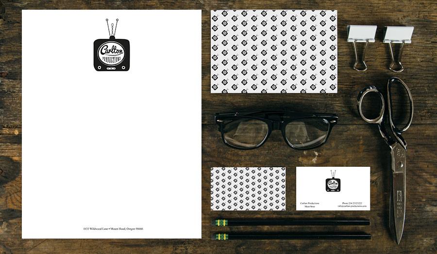Design der Briefbogen und Visitenkarten