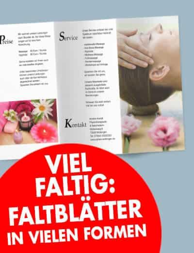 Faltblatt online preiswert drucken in vielen Formaten
