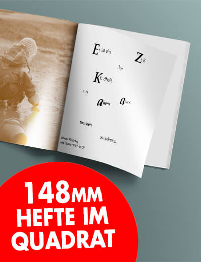 Broschuere 148 mm im Quadrat Klammerheftung