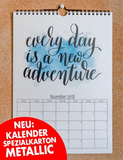 A4 Kalender Metallic Typografie online drucken