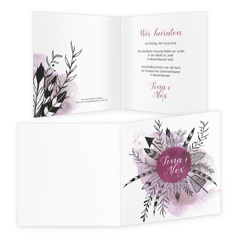 Hochzeits-Einladung im schicken Boho-Style