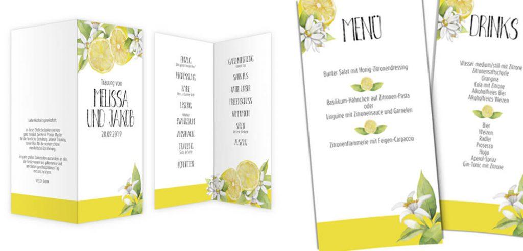 Hochzeits-Trends Zitrone Klappkarten