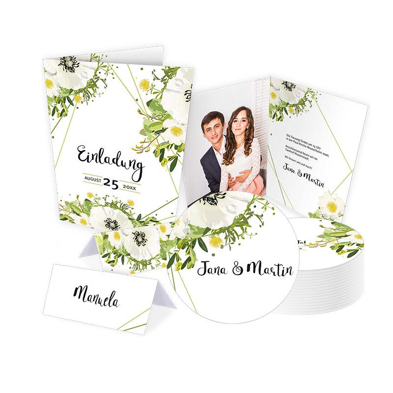 Hochzeit Set Mohnwiese Greenery Blumen floral