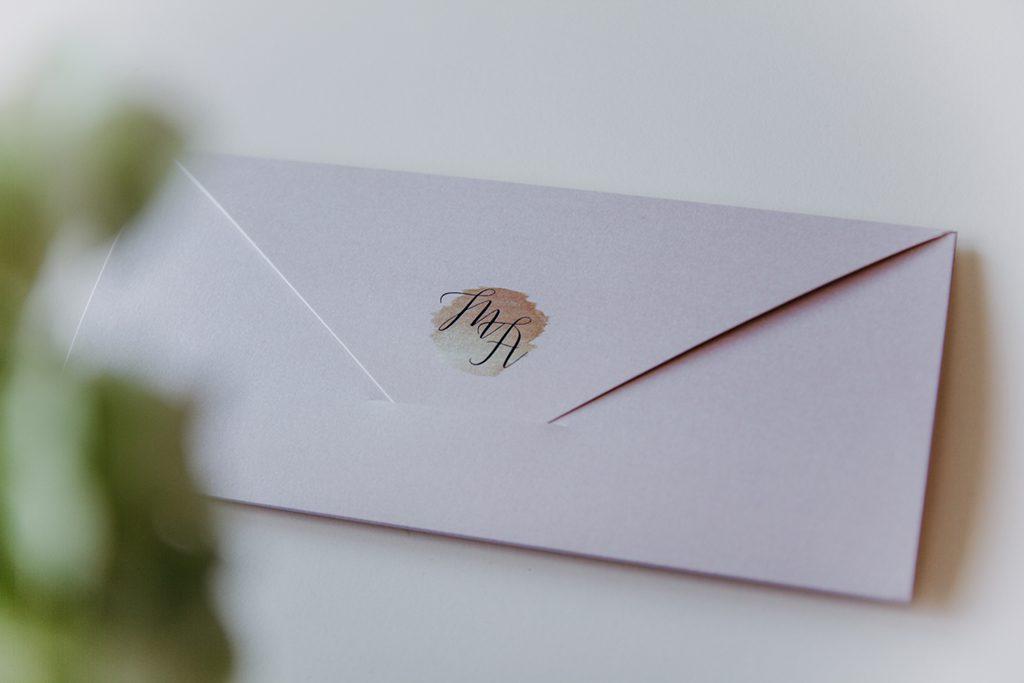 Rosegold Hochzeit Einladung Briefumschlag
