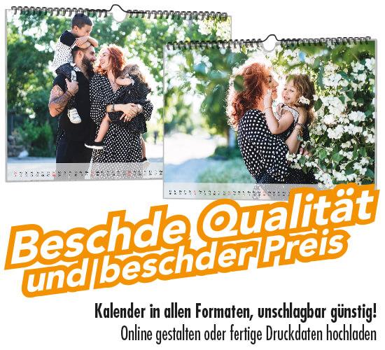 Kalender online drucken und gestalten zum Top-Preis in Spitzen-Qualität