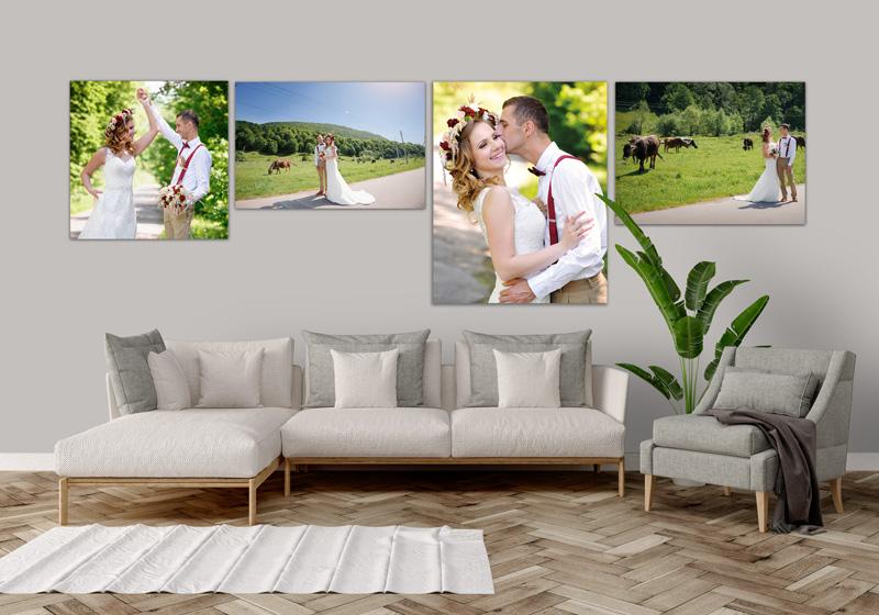 Foto Leinwand Canvas Wandschmuck Wohnzimmer Hochzeit Brautpaar
