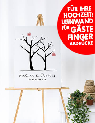 Foto Leinwand Canvas Hochzeit Fingerabdruecke online erstellen