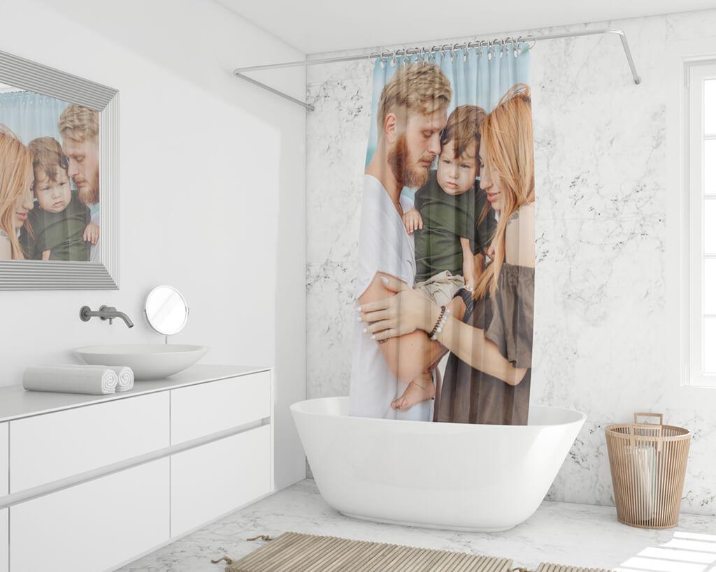 Duschvorhang online bedrucken Fotos Familie Urlaub Hochzeit