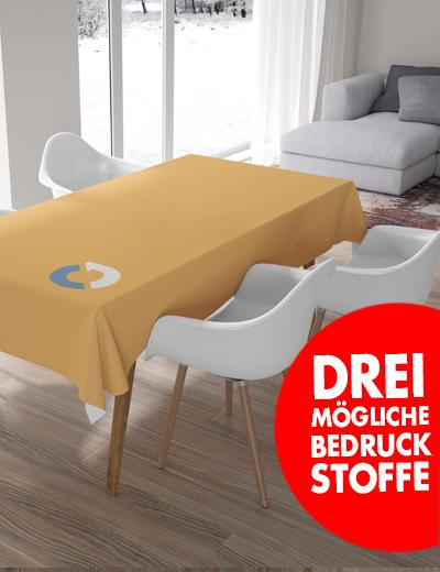 Eigene Tischdecke online drucken drei verschiedene Stoffe