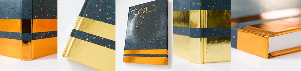 Buch Hardcover Cellophanierung Softtouch Heissfolienpraegung Gold Kupfer Silber