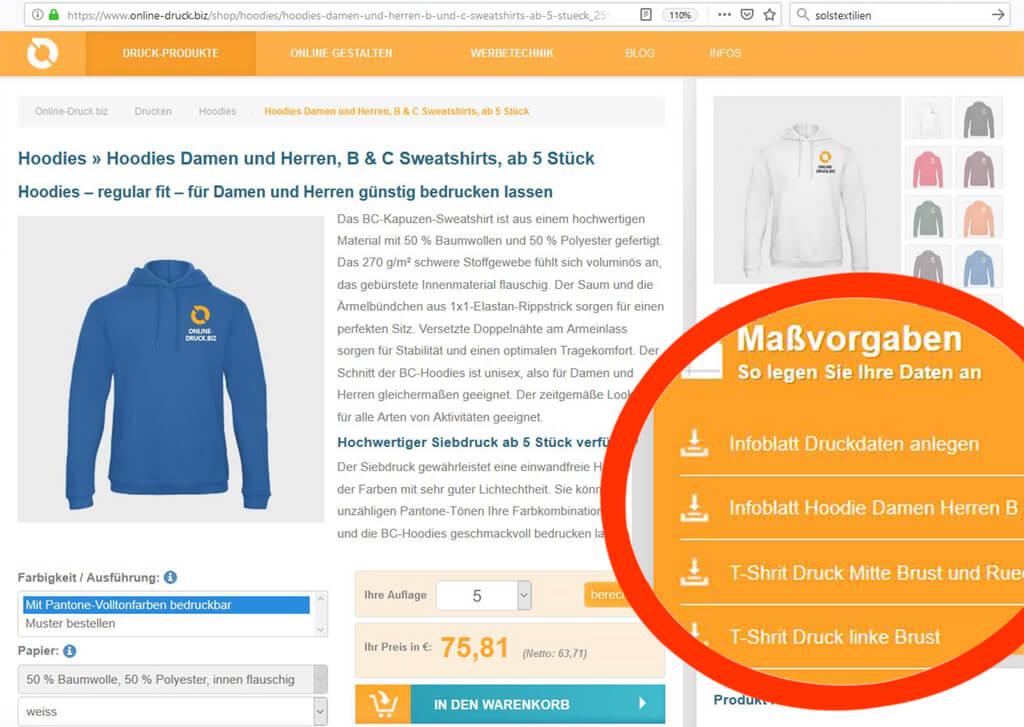 Textilien online drucken Massvorgaben Infos Groessen