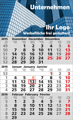3-Monats-Wandkalender international