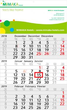 3-Monats-Wandkalender