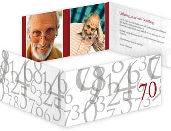 Die erfrischende Einladungskarte zum 70sten