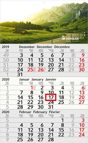 3-Monats-Wandkalender Recycling