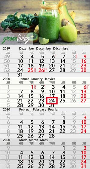 4-Monats-Wandkalender Recycling