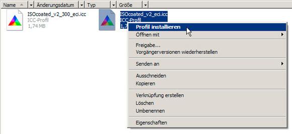 Schritt 1 / 8: ICC-Profile installieren