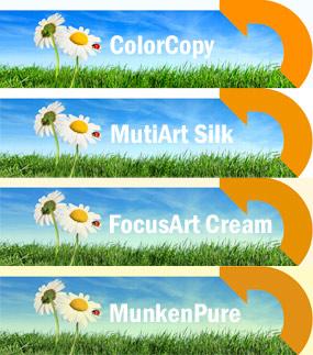 Farbwirkung auf digital bedruckten Papiersorten