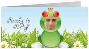 Lustige Einladungskarte zum Geburtstag mit Froschmotiv