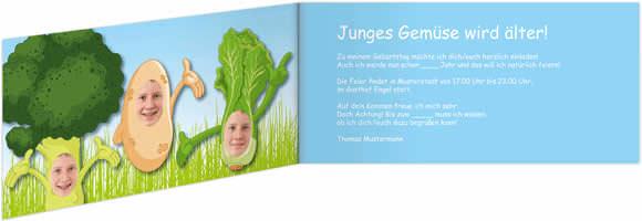 Geburtstagseinladungs Klappkarte Mit Lustiger Fotomontage   Thema: Junges  Gemüse Wird älter! Diese Einladungskarte Für Ihren Geburtstag ...