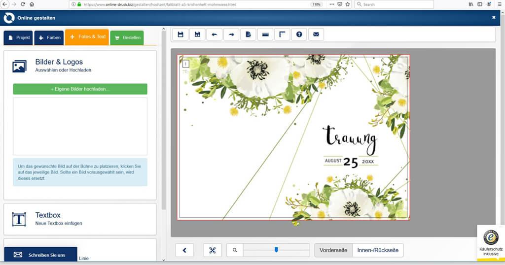 Faltblatt erstellen im Online Designer