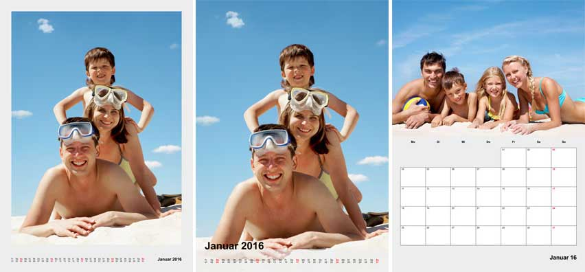 Fotokalender A2 weitere Layouts