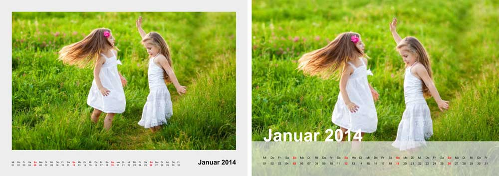 Fotokalender A3 weitere Layouts