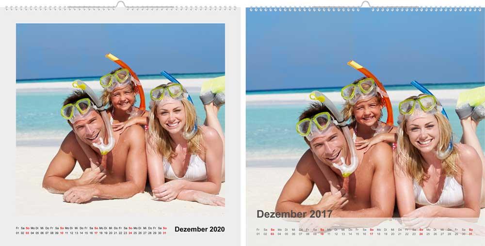 Fotokalender Quadrat weitere Layouts