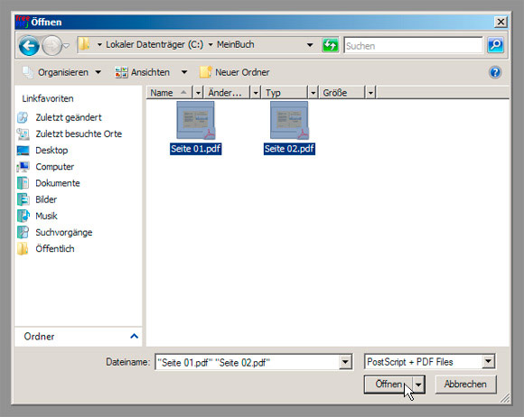 FreePDF XP Join - Schritt 2/6