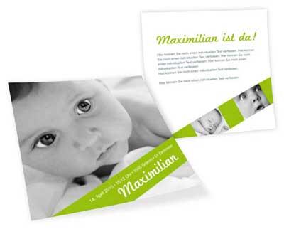 Geburtskarte in Grün