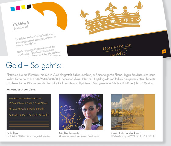 Musterkarte mit Sonderfarbe Gold bestellen