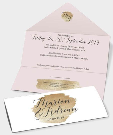 Hochzeitseinladung in Briefumschlagoptik