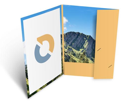 Mappen A4 mit 2 Klappen und Visitenkartenschlitze, günstig online drucken