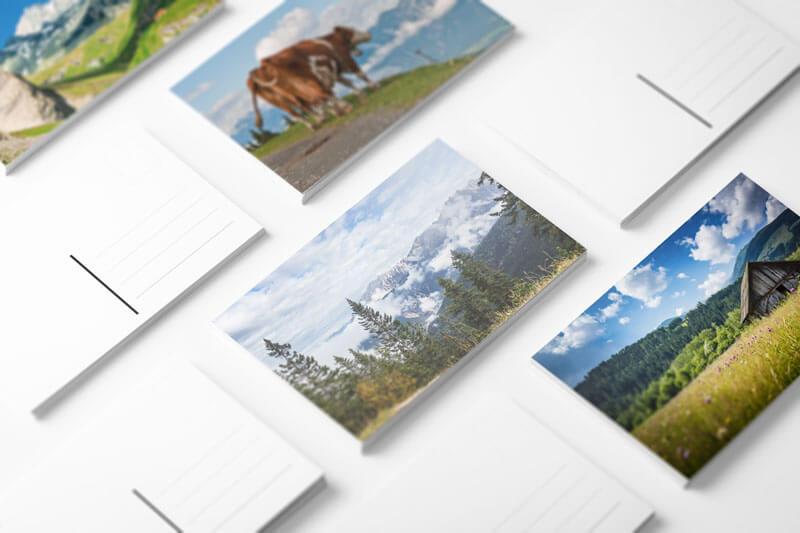 Postkartenbeispiele in Onlinegestalter erstellt