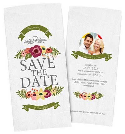 Karte Save the Date DIN lang hochformat